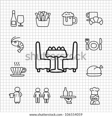 White series | Hand drawn Restaurant Icon set - stock vector