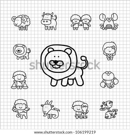 White Series | Hand drawn Zodiac icon set - stock vector