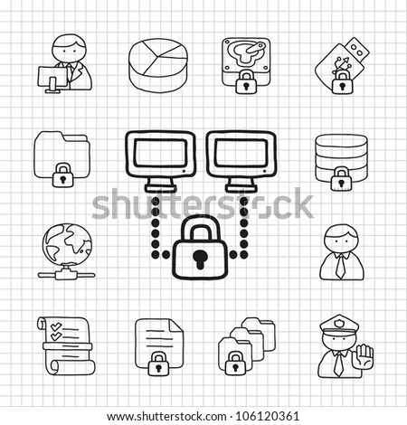 White Series | Security  icon set - stock vector