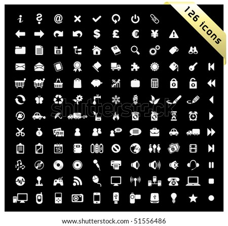 White set of 126 icons - stock vector