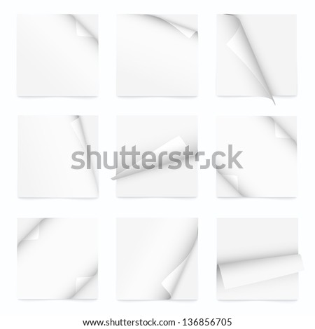 white set of note paper with curled corner - stock vector