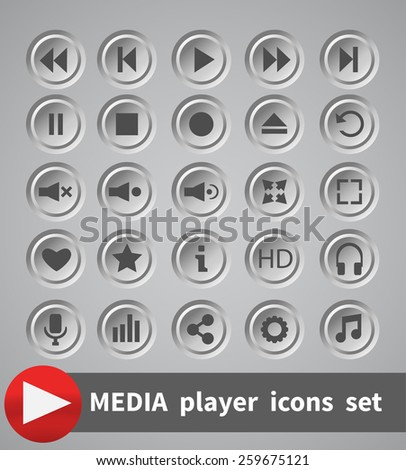 White shaded plastic button vector player set