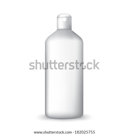 white shampoo bottle isolated on white - stock vector
