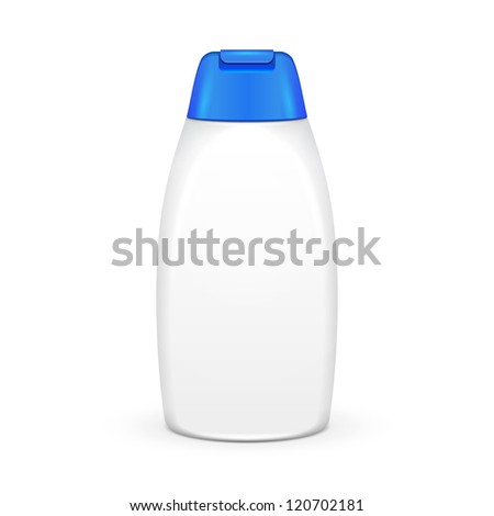 White Shampoo Plastic Bottle On White Background Isolated. Ready For Your Design. Product Packing Vector EPS10 - stock vector