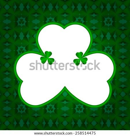 White Shamrock on dark abstract clover leaves background for St. Patrick's Day - stock vector