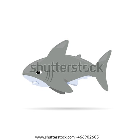 white shark  ,Vector illustration Cartoon