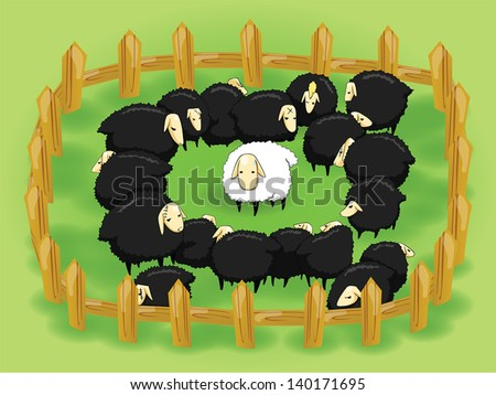 White sheep in the flock of black sheep. In this day nice, kind, unselfish, and pure people are in the black sheep's society, and they are hard to survive. Fence is social, black and white is people.  - stock vector