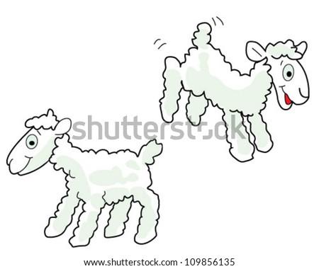 White sheep over white background - stock vector