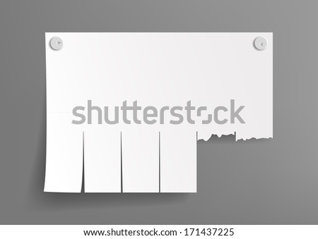 white sheet for ads on a gray background - stock vector
