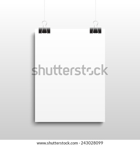 White sheet of paper hanging on the fold back clips on the grey background. Vector illustration, eps10. - stock vector