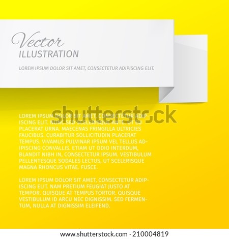 White sheet of paper on a yellow background. Origami vector banner.  - stock vector