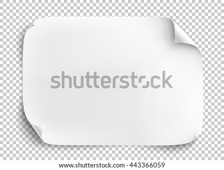 White sheet of paper on transparent background. Vector illustration. - stock vector