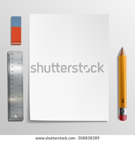 White sheet of paper, pencil and eraser. Stock Vector illustration. - stock vector