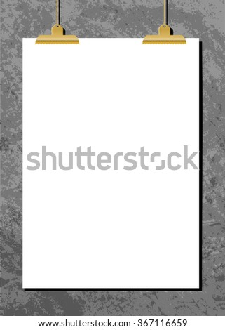 White sheet of paper with golden clips against an old concrete wall. Modern and stylish vertical poster mockup, A4 size, scalable to any dimension. - stock vector