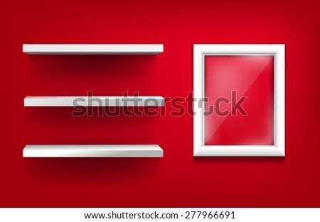 White shelves and white frame with glass on a red background - stock vector