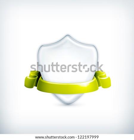 White shield, award vector - stock vector