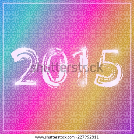 White Shiny Neon 2015 Letters Sign on Colorful Stripe New Year Background - stock vector