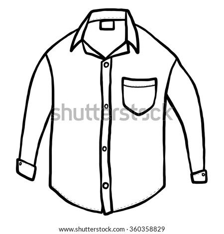 white shirt / cartoon vector and illustration, black and white, hand drawn, sketch style, isolated on white background. - stock vector