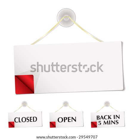 White shop sign with blank copyspace and corner curl - stock vector