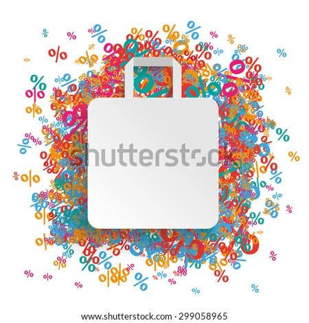 White shopping bag with colored percents.  Eps 10 vector file. - stock vector