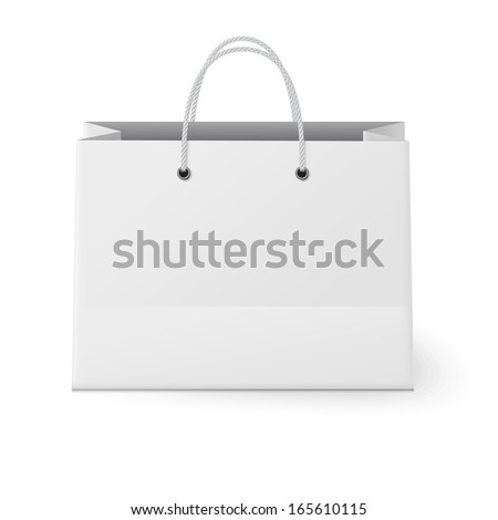 White shopping paper bag isolated on white background - stock vector