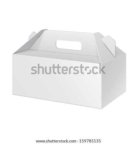 White Short Cardboard Carry Box Packaging For Food, Gift Or Other Products. On White Background Isolated. Ready For Your Design. Product Packing Vector EPS10  - stock vector