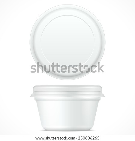 White Short Food Plastic Tub Bucket Container For Dessert, Yogurt, Ice Cream, Sour Cream Or Snack. Mock Up Template Ready For Your Design. Product Packing Vector EPS10 - stock vector