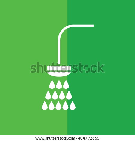 White shower vector icon. Green background - stock vector