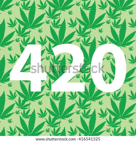 White 420 sign on marijuana leaf pattern background vector illustration - stock vector