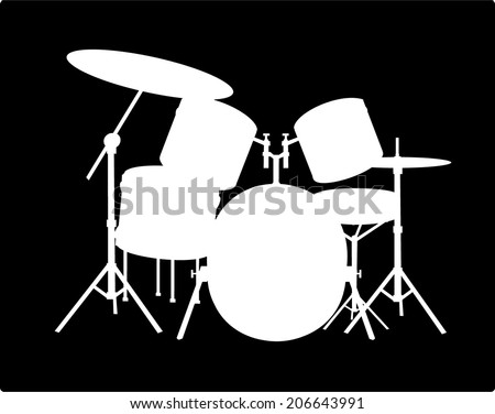 White silhouette drum-type installation on a black background, vector art image illustration - stock vector