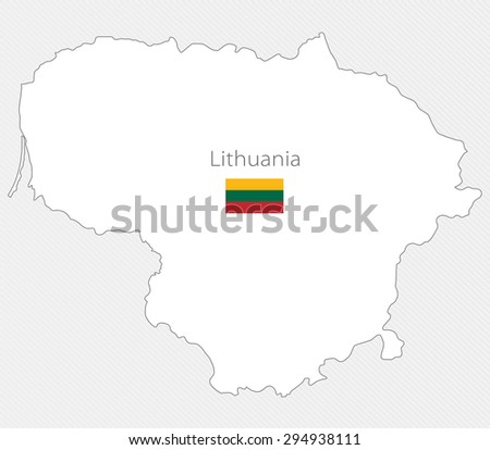 White silhouette map of Lithuania on a gray background - stock vector
