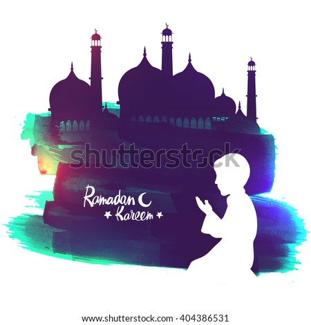 White silhouette of a Islamic boy offering Namaz (Muslims Prayer) in front of a creative Mosque for Ramadan Kareem celebration. - stock vector