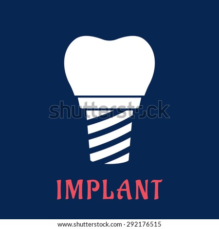 White silhouette of dental implant in flat style with replacement crown for dentistry concept design - stock vector