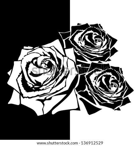 White silhouette of rose with leaves. Black background - stock vector