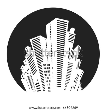 White silhouette of the city on a black background - stock vector