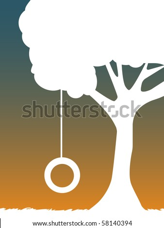 White Silhouette of Tire Swing Hanging from tree at dusk - stock vector