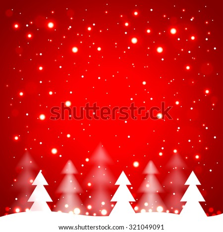 White simple Christmas trees on red background vector illustration - stock vector