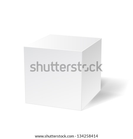 white simple cube on white