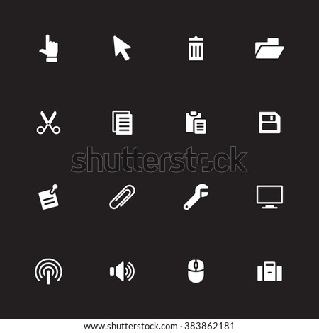 white simple flat computer and technology icon set 3 for web design, user interface (UI), infographic and mobile application (apps) - stock vector