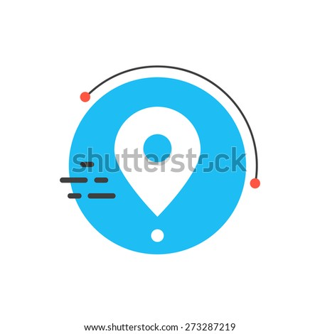 white simple pin icon on blue circle. concept of orbit satellite, mapping, coordinates, positioning, geography. isolated on white background. flat style trendy modern logo design vector illustration - stock vector