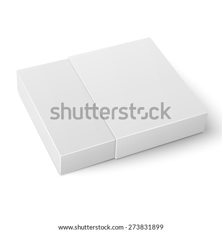 White sliding cardboard box template on white background Packaging collection. Vector illustration. - stock vector