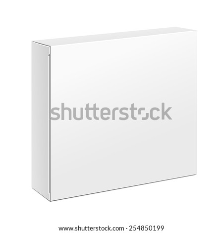 White Slim Product Cardboard Package Box. Illustration Isolated On White Background. Mock Up Template Ready For Your Design. Vector EPS10 - stock vector