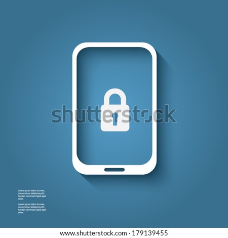 White smart phone infographic element with lock icon in the middle with 3d effect. Eps10 vector illustration. - stock vector