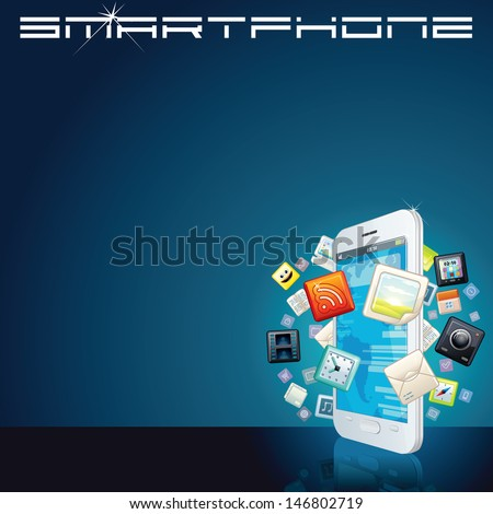 White Smart Phone with App Icons. Vector Background - stock vector