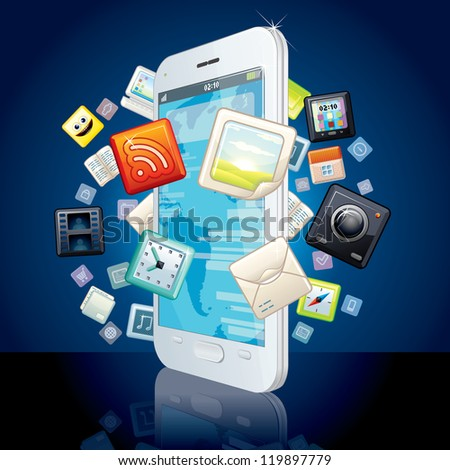 White Smart Phone with Cloud of Media Application Icons. Vector Image - stock vector