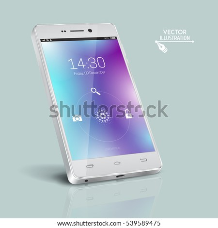 White smartphone. Modern user interface with a screen lock. Touchscreen smartphone. Concept of modern features, mass media. Vector illustration.