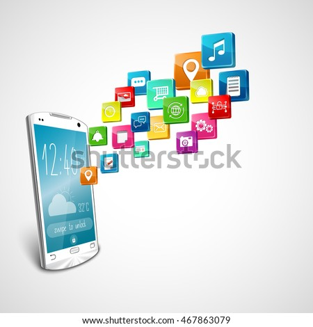 White smartphone with application icons on white background.vector