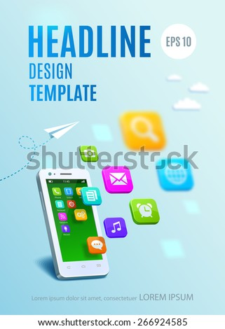 White smartphone with cloud of application colorful icons. Template design cover book, flyer, poster - stock vector