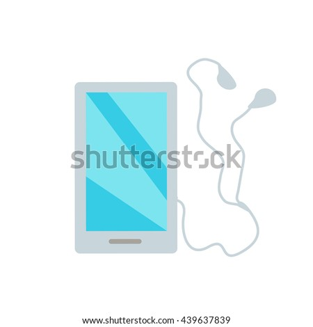 White smartphone with headphones, earpieces, earphones, ear flaps. Mobile multimedia blue user interface on phone screen. Flat design style vector illustration - stock vector