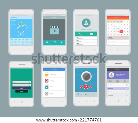 White smartphones with mobile ui design template flat set with business apps isolated vector illustration - stock vector